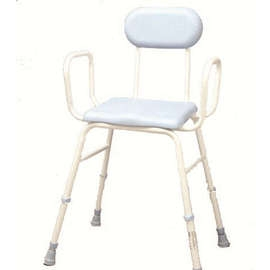 PU Moulded Perching Stool (with Arms + Padded Back)