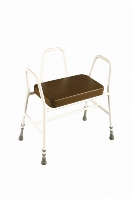 Bariatric Perching/Kitchen Stool with Tubular Arms and Back