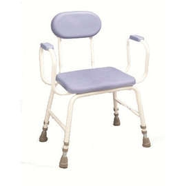 PU Moulded Perching Stool Extra Low Padded Arms, Padded Back