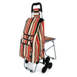 Tri Wheeled Leisure Shopping Trolley With Fold Down Seat