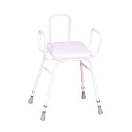 Malvern Vinyl Seat Perching Stool (with Arms + Back)