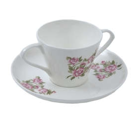 Floral Two Handled Cup and Saucer