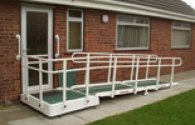 Portable Glass Fibre Access Ramp With Double Handrail